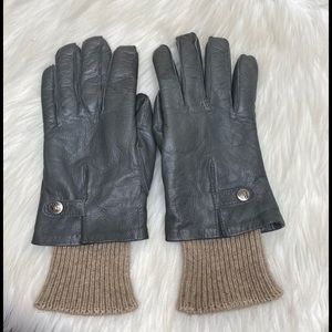 Christian Dior Leather Gloves Gray